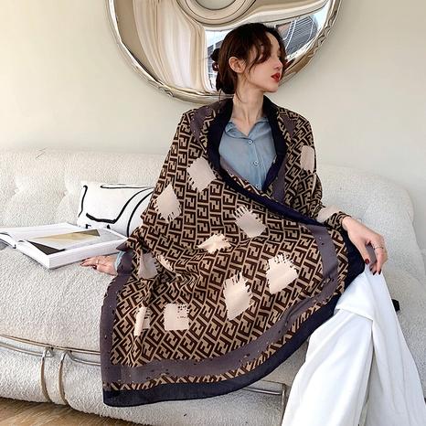 bufanda de seda del protector solar del mantón de la impresión de la moda NHCM322669's discount tags