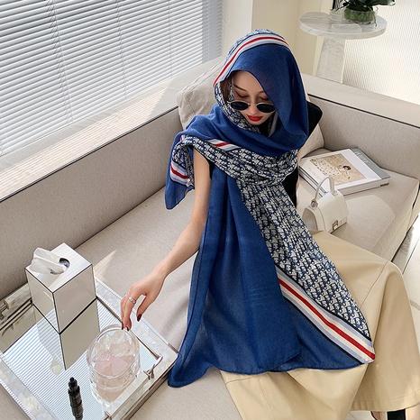 Bufanda de seda de la protección solar del mantón de la sensación del algodón y del lino de la impresión de la moda coreana NHCM322675's discount tags