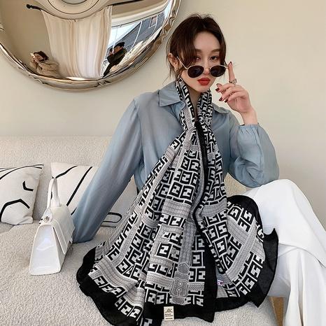 bufanda de seda del protector solar del mantón de la impresión de la moda NHCM322678's discount tags