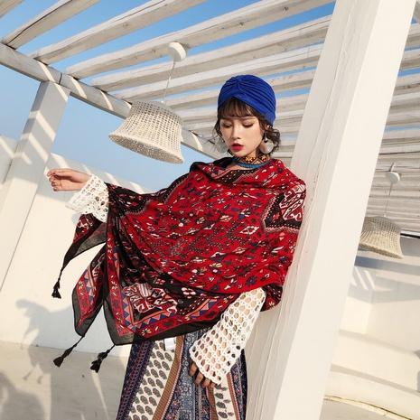 chal protector solar pañuelo de seda roja de algodón y lino NHCM322681's discount tags