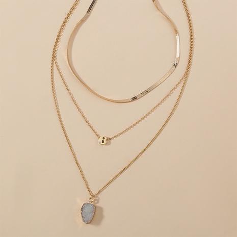 Buchstaben Naturstein mehrschichtige Halskette NHAN322689's discount tags