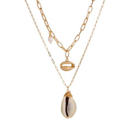Collier de perles de coquillage doré à la mode NHAN322698's discount tags