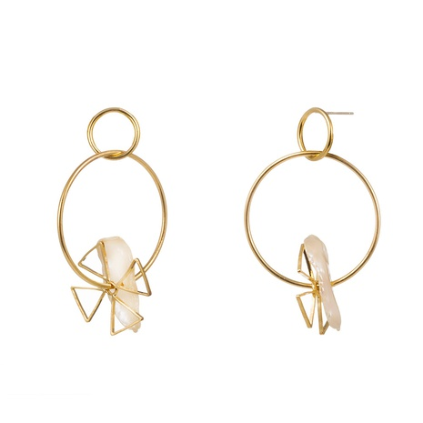 fashion triangle windmill shaped pearl earrings NHAN322701's discount tags