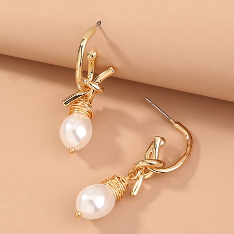 fashion hand-wound knotted pearl earrings NHAN322710's discount tags
