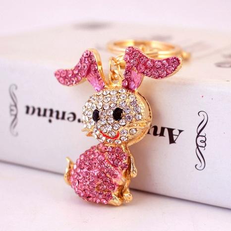 Alloy Rhinestone Cartoon Bunny Keychain NHAK322720's discount tags