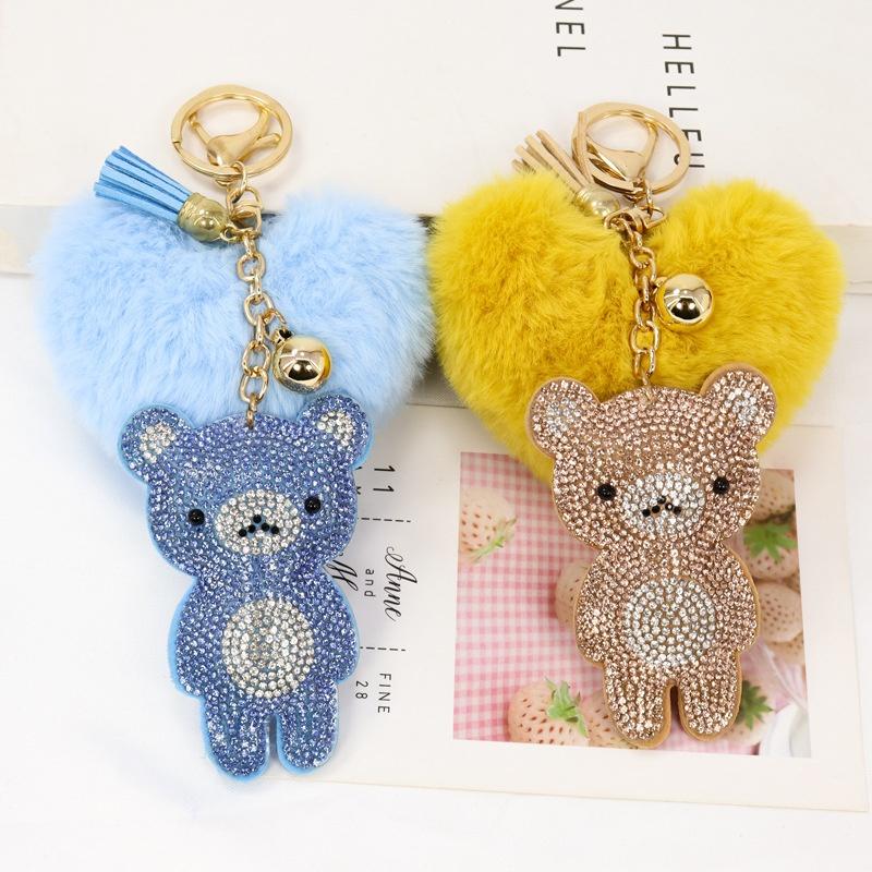 fashion korean flannel peach heart hair ball keychain NHAP322726