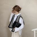 Black and white striped knotted knitted shawl  NHCJ322806