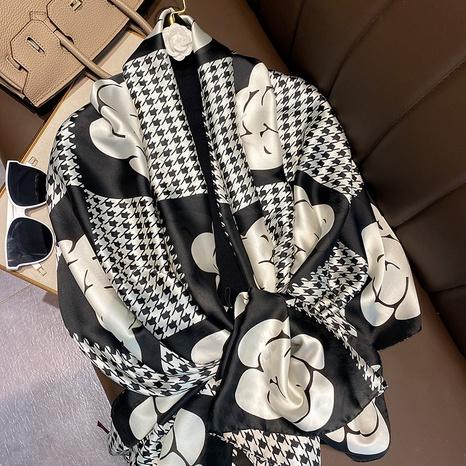 bufanda de seda artificial con estampado de flores de moda NHCJ322807's discount tags