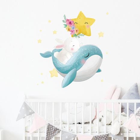 cartoon whale white rabbit star wall sticker NHAF322822's discount tags