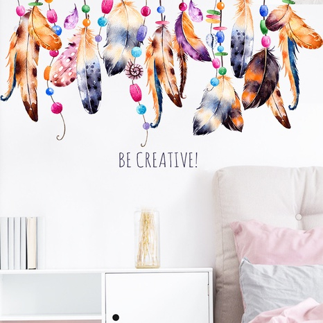 new fashion ethnic style feather wall stickers NHAF322824's discount tags