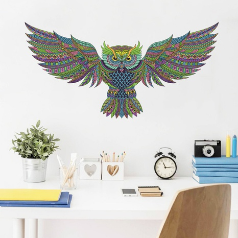 New Cartoon Winged Colored Owl Wall Sticker NHAF322827's discount tags
