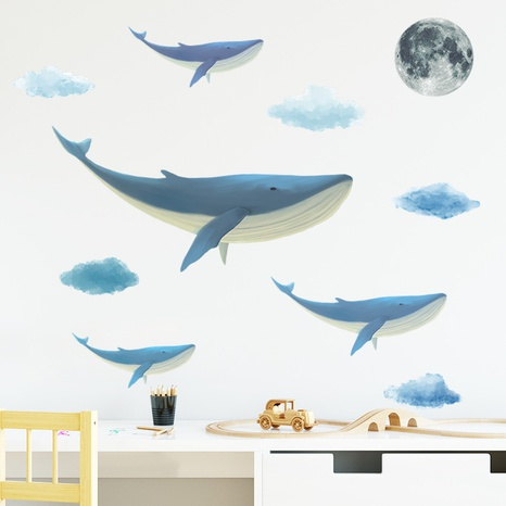 new fashion whale cloud moon wall stickers NHAF322830's discount tags
