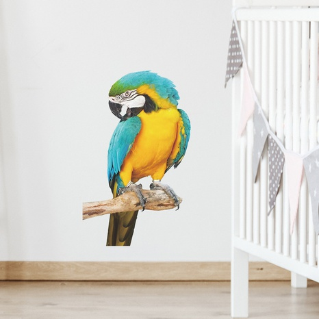 Cartoon Tsundere Blue Yellow Parrot Wall Sticker NHAF322832's discount tags