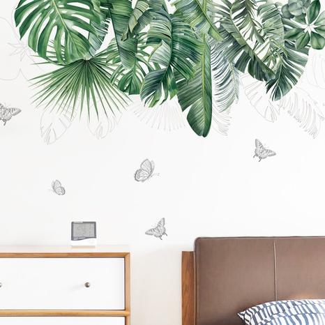 new fashion tropical green plant leaf wall sticker NHAF322834's discount tags