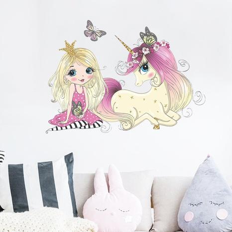 new fashion princess big unicorn wall sticker NHAF322835's discount tags