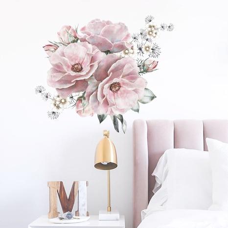 new fashion pink big peony flower wall sticker NHAF322837's discount tags