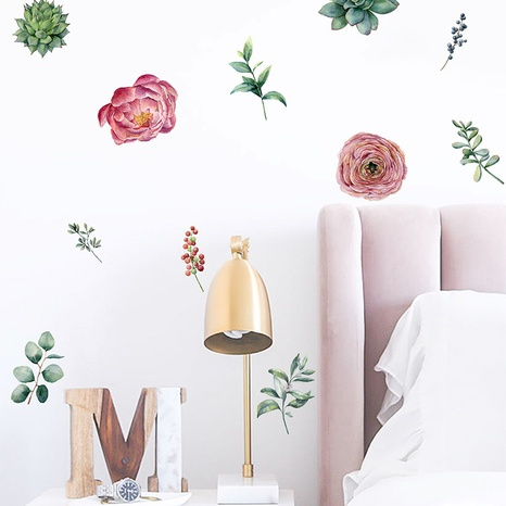 fashion succulent green plant peony flower wall sticker NHAF322845's discount tags