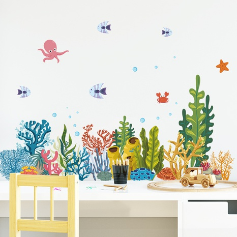 new watercolor submarine coral fish wall stickers NHAF322846's discount tags