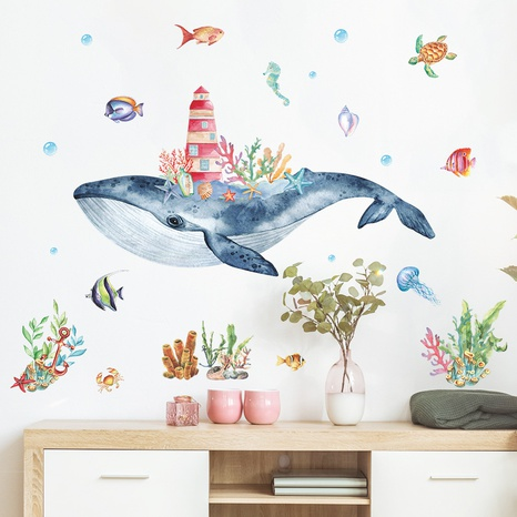 new watercolor seabed whale castle wall stickers NHAF322853's discount tags