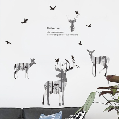 new black white silhouette elk forest wall stickers NHAF322849's discount tags