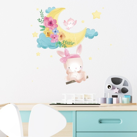 new cute rabbit moon swing wall stickers NHAF322857's discount tags