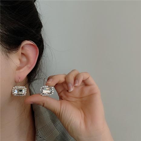 Boucles d'oreilles coréennes en verre carré strass NHYQ322863's discount tags