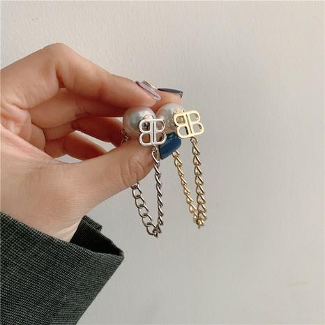 Boucles d'oreilles perles coréennes en forme de lettre simple NHYQ322888's discount tags