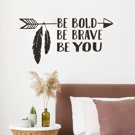 new fashion arrow feather English slogan wall sticker NHAF322916's discount tags