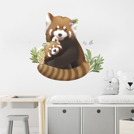 new cartoon little raccoon mother and child wall sticker NHAF322917's discount tags