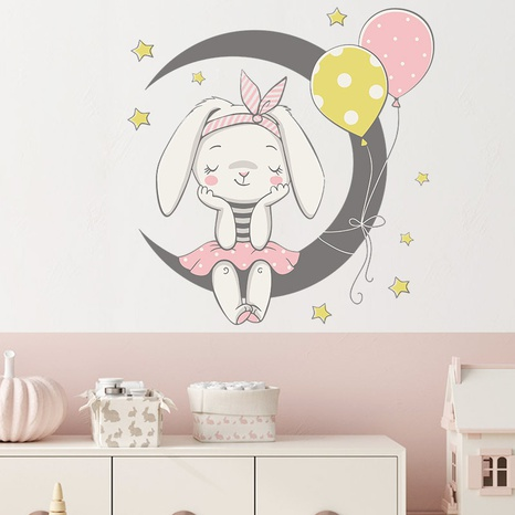 new cartoon moon rabbit balloon wall stickers NHAF322920's discount tags