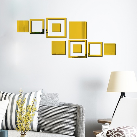 New Acrylic Mirror Geometric Square Creative Sticker NHAF322929's discount tags