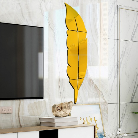 New Feather Mirror Wall Stickers 6 Pieces set NHAF322931's discount tags