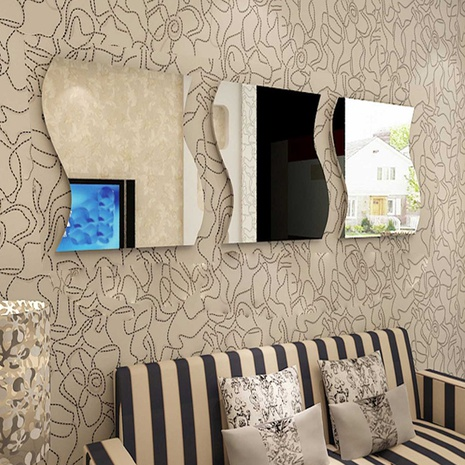 New acrylic 6-piece wave combination stereo mirror wall sticker NHAF322934's discount tags