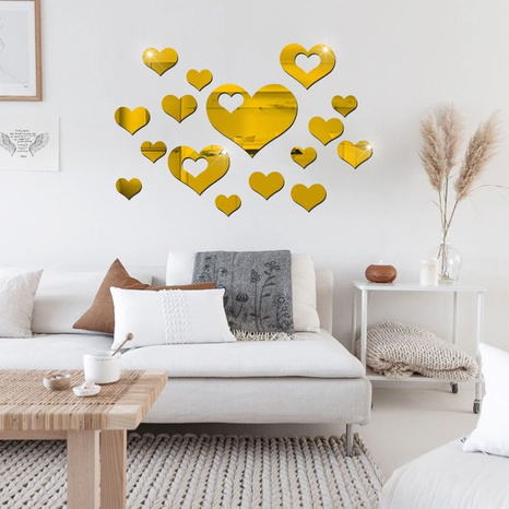Heart-shaped acrylic mirror wall stickers set NHAF322936's discount tags