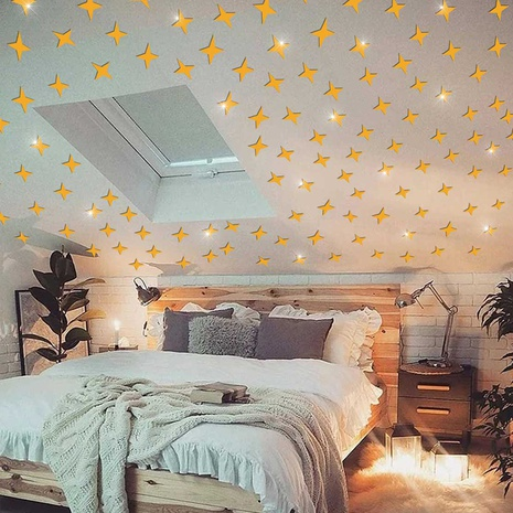 new gypsophila four-pointed star acrylic mirror wall stickers NHAF322938's discount tags