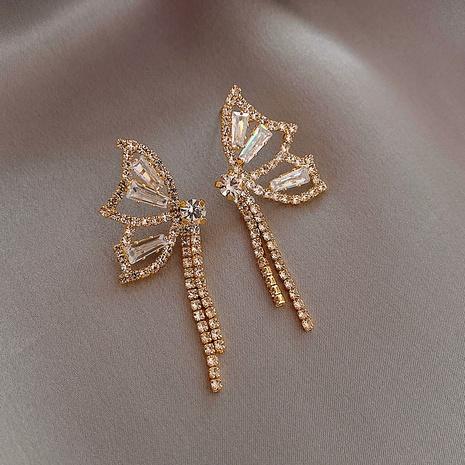 Pendientes de mariposa con borlas largas y diamantes completos NHOT323200's discount tags