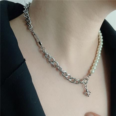 collier en argent avec broche de perles et point de croix NHYQ322890's discount tags