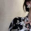 fashion Diamond Pearl Maple Leaf Stud Earrings NHQC323723