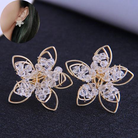 Korean Fashion Simple Crystal Flower Earrings NHSC323345's discount tags