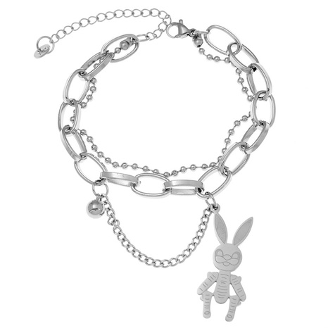 Korean stainless steel simple long ear rabbit pendant bracelet NHSC323333's discount tags
