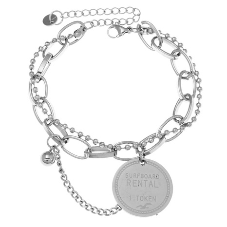 Korean fashion stainless steel concise round pendant bracelet NHSC323328's discount tags