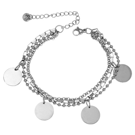 Korean fashion simple stainless steel simple round bracelet NHSC323327's discount tags
