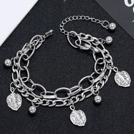 Korean fashion simple stainless steel wild leaf bell bracelet NHSC323326's discount tags