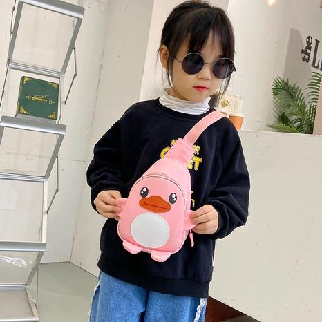 Bolso de lona de dibujos animados bolso de pecho de niño lindo pato pequeño bolso NHTG323005's discount tags
