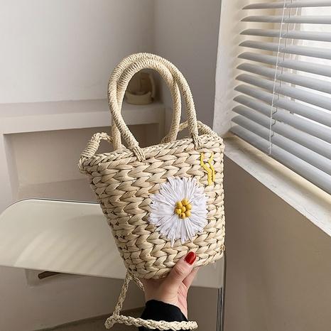 Korean embroidered woven bag straw bucket handbag NHTG323007's discount tags