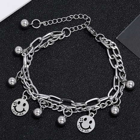 Korean fashion simple stainless steel wild smiley face bracelet NHSC323325's discount tags
