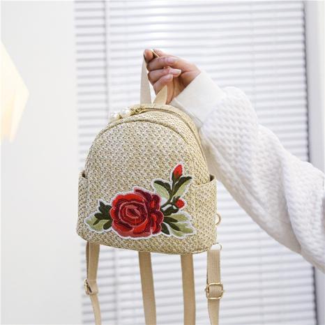 Mochila de paja floral bordada de vacaciones junto al mar de moda NHTG323040's discount tags