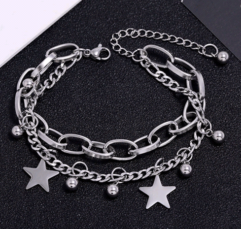 Korean simple stainless steel lucky star bracelet NHSC323322's discount tags