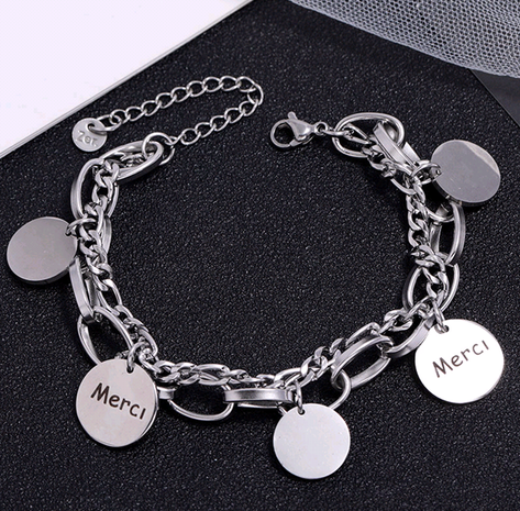 Korean fashion stainless steel concise round bracelet NHSC323321's discount tags