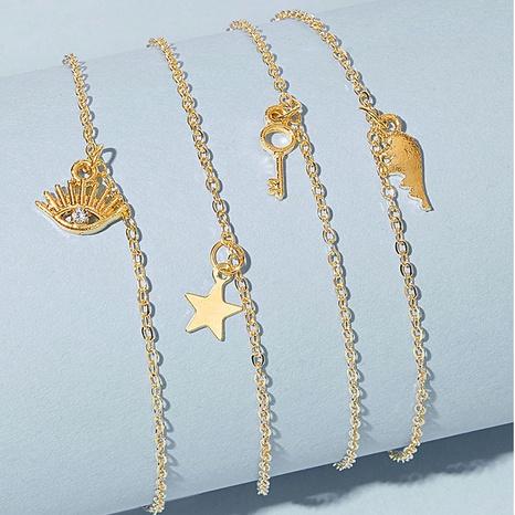 Korean sweet eyes star key pendant anklet NHAJ323319's discount tags